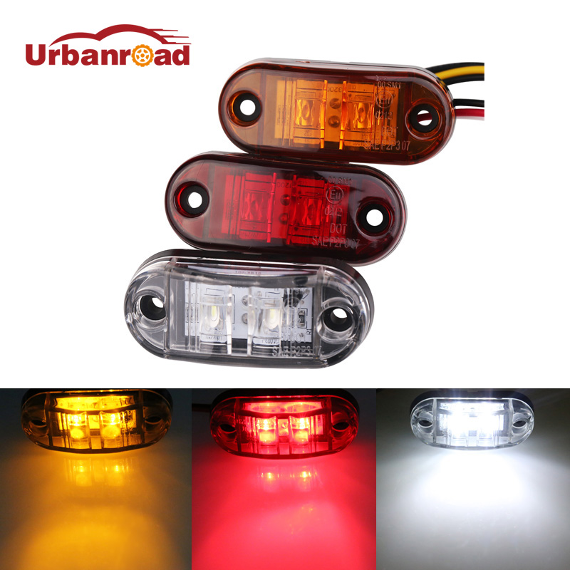Urbanroad 2pc 12V 24V LED Amber Red White Side Led Marker Trailer Lights Led marker lights for trucks Marker light люстра накладная 06 2484 0333 24 gold amber and white crystal n light