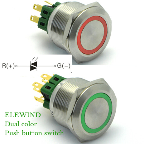 ELEWIND 25mm 12V dual led color Metal Switch Push Button (PM251F-22E/R-G/12V/S)ELEWIND 25mm 12V dual led color Metal Switch Push Button (PM251F-22E/R-G/12V/S)