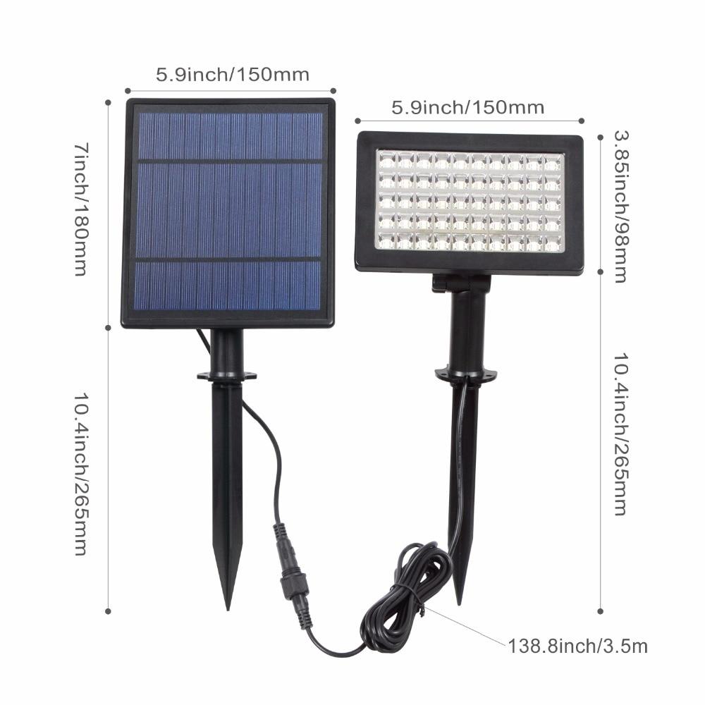 Image 2 - T SUNRISE, Солнечный Прожектор, 50 светодиодный, наружное освещение, регулируемый угол, солнечная садовая лампа, IP44, водонепроницаемая, охранная лампа для сада-in Светодиодные солнечные лампы from Лампы и освещение