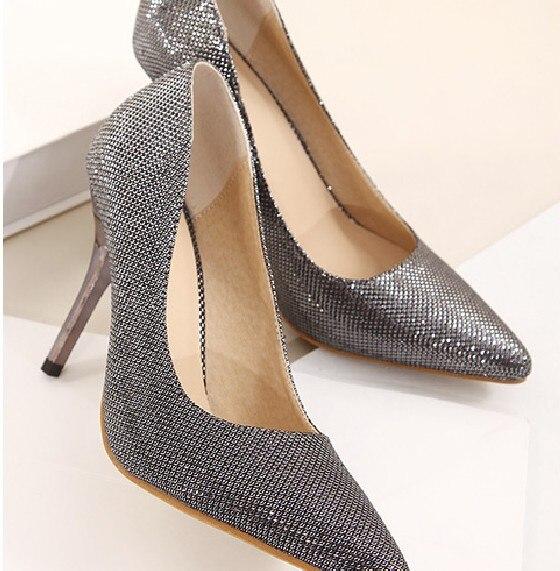 a83cd990757 2014 Women Pumps sexy Silver grey heels 9cm wedges high heels for wedding