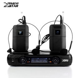 Professional Wireless Headset Microphone Karaoke System Dual Channel LCD Receiver For Cordless Headworn Mic Bodypack Transmitter