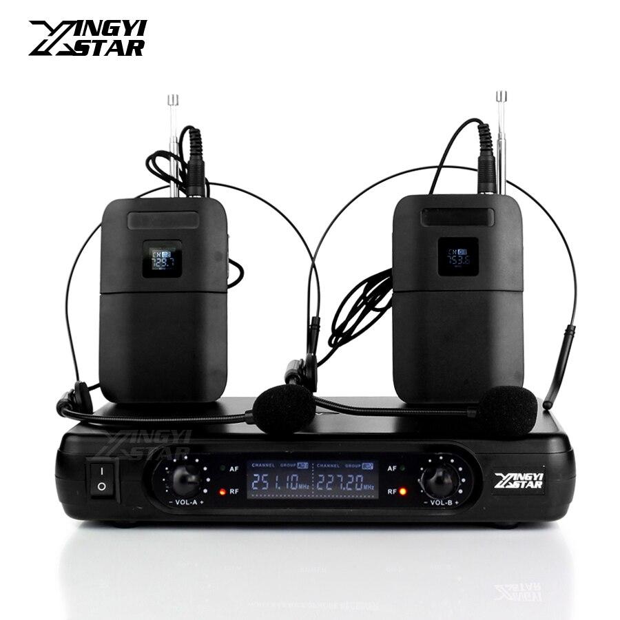 Système de karaoké professionnel casque sans fil Microphone récepteur LCD double canal pour émetteur sans fil