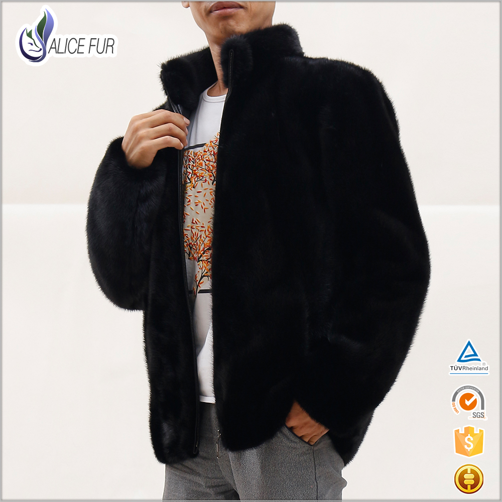 Customized man Mink Fur Short Coat real fur jacket with stand collar