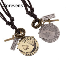 ZORCVENS Summer Design Vintage Women Leather Necklaces Metal Poker Card Cross Chunky Necklace Pendant Punk Rock Jewellery(China)