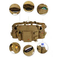 Double Water Bottle Men Nylon Waist Sport Bag Belt Tactical Military Travel Hiking Pack Camping Tactical Backpack Anti-Tear