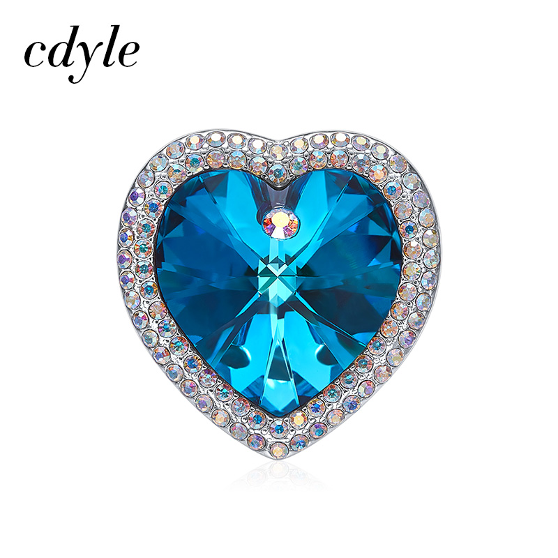 Cdyle Crystals from Swarovski Vintage Style Ocean Blue Crystal Heart Brooch Pins Sweater Scarf Suit Brooch For Mom Women Gifts