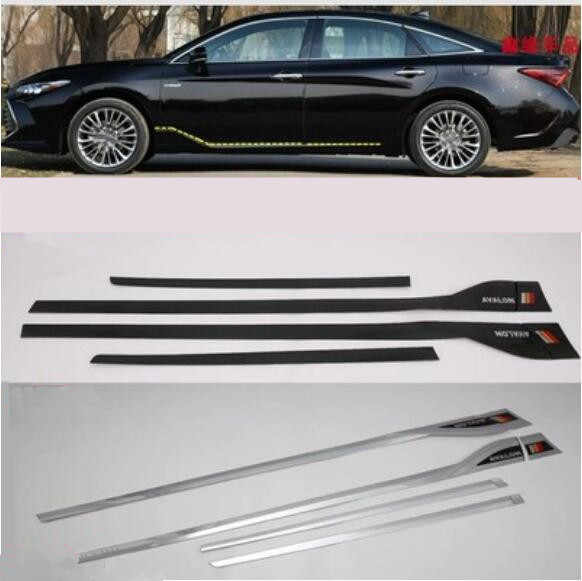 6pcs/Set ABS Chrome For Car Side Door Body Protector  Molding  Cover Trim Fits For Toyota Avalon 2019 2020