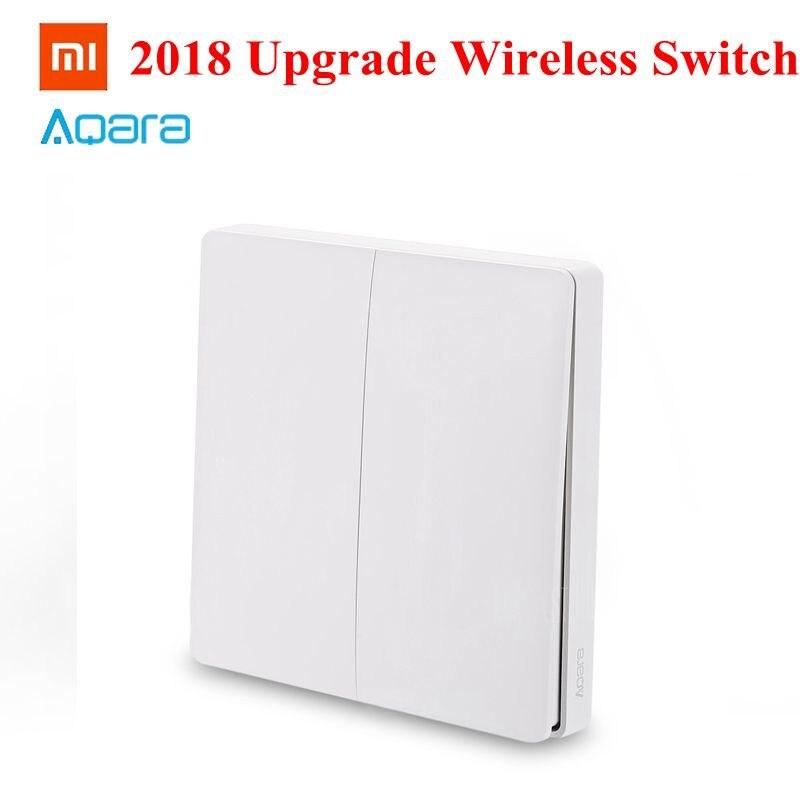Xiaomi Aqara Smart Wireless Switch 2018 Upgrade Single Double Button Key Smart Light Control ZigBee Version Mi Home APP Gateway xiaomi aqara smart light control fire wire и zero line single key version