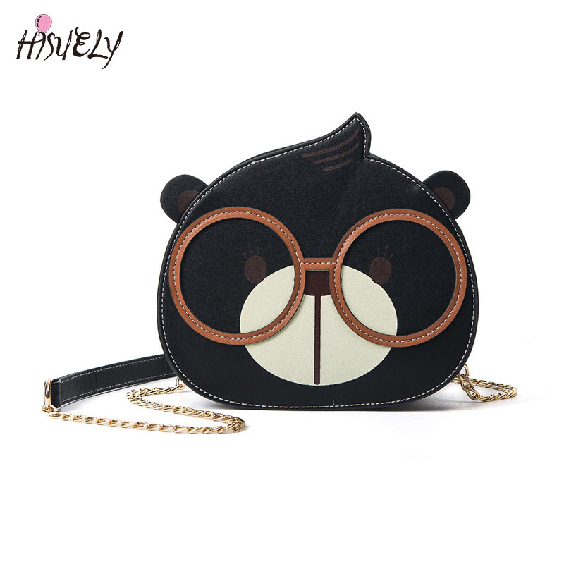 HISUELY 2017 New Fashion Cute Cartoon Bear Shoulder Bag Wome Fashion Chain Handbags Black/Brown Color Messenger Bag Hot Sale
