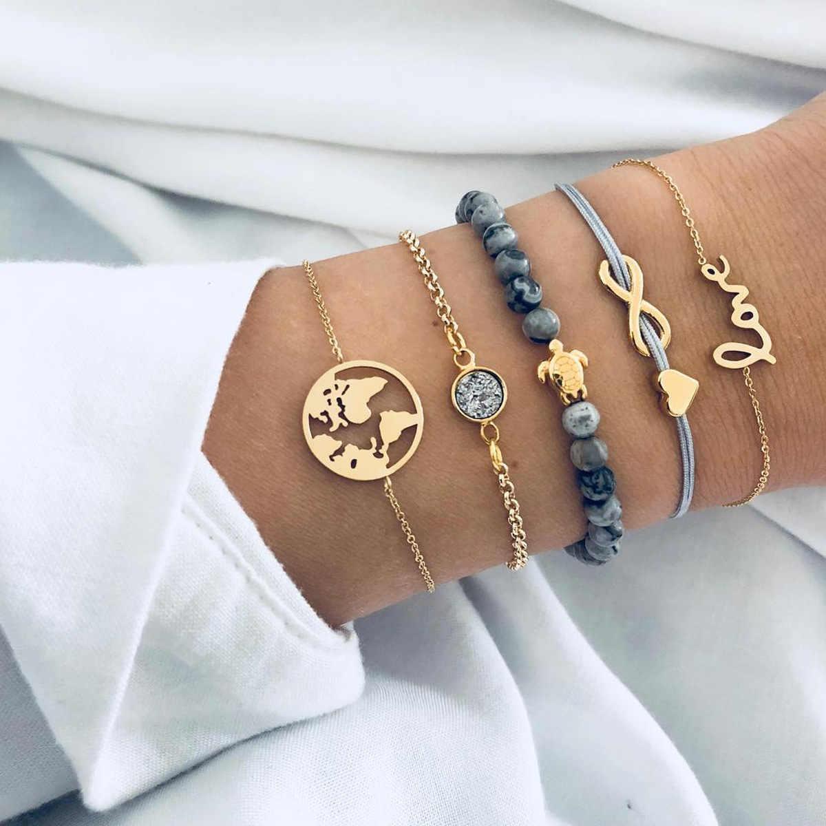 Grânulos cinzentos pulseiras boêmio criativo mapa do mundo tartaruga amor coração infinito charme pulseiras definir moda jóias transporte da gota