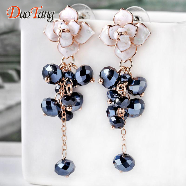 DuoTang New Hot Bohemia Semi-precious Stone Flowers Earrings Fashion Elegant Gold Plated Tassel Stud Earring Women Jewelry Gift