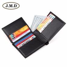 J.M.D High Quality Genuine Leather Billfold Wallet Designer Black ID Card Holder R-8146A