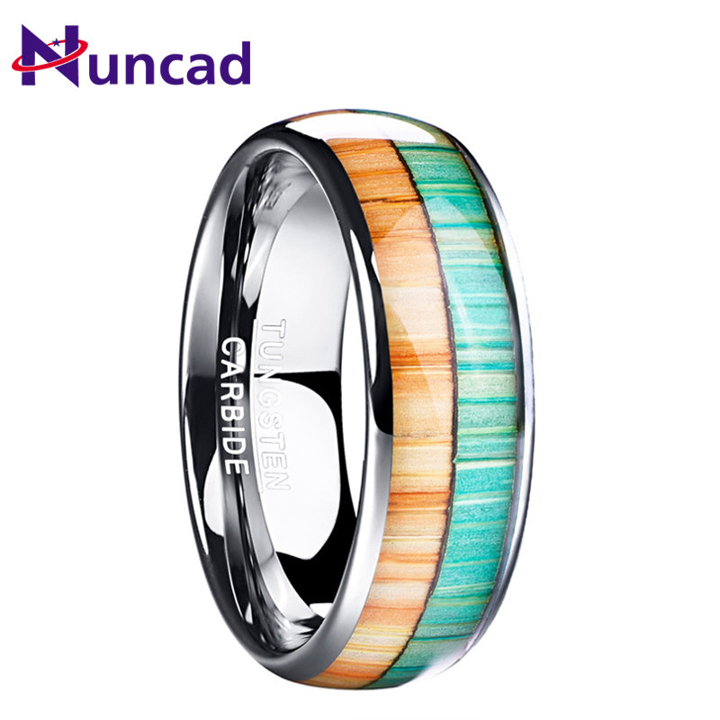 8mm Tungsten Carbide Ring Flat Beveled Vertical Facets Mens Womens Sizes 6-15