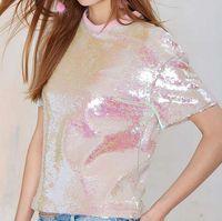 Kobiety koszulki lato różowy cekinami o neck krótki rękaw 2015 unique design hot stylowe casual luźna koszulka kobiet streetwear