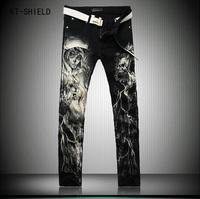 New Punk Style Men Fashion Straight Leg Painted Jeans Mens Printed Denim Pants Cool Cotton Designer