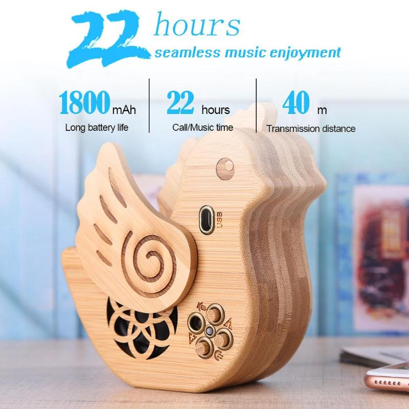 Bamboo Chicken Shape Wireless Bluetooth Speaker Sound Box Loudspeaker Stereo Bass HIFI Music Subwoofer with Microphone portable wireless bluetooth column speaker stereo subwoofer support usb sound box tf fm radio with mic dual bass loudspeaker