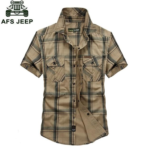 Afs 2016 vestido de verão de manga curta camisa xadrez estilo exército verde e cáqui cores plus size 5XL 100% algodão