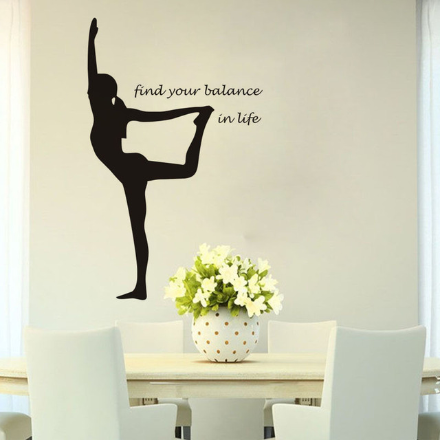 Sports Yoga Find Your Balance Vinyl Wall Decal Home Decor Quotes Diy Art Mural Wallpaper Removable