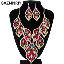 Fashion Crystal Jewelry Sets for Women Gold Rhinestone Wedding Prom Big Necklace and Earrings Set Female Party Jewellery Sets