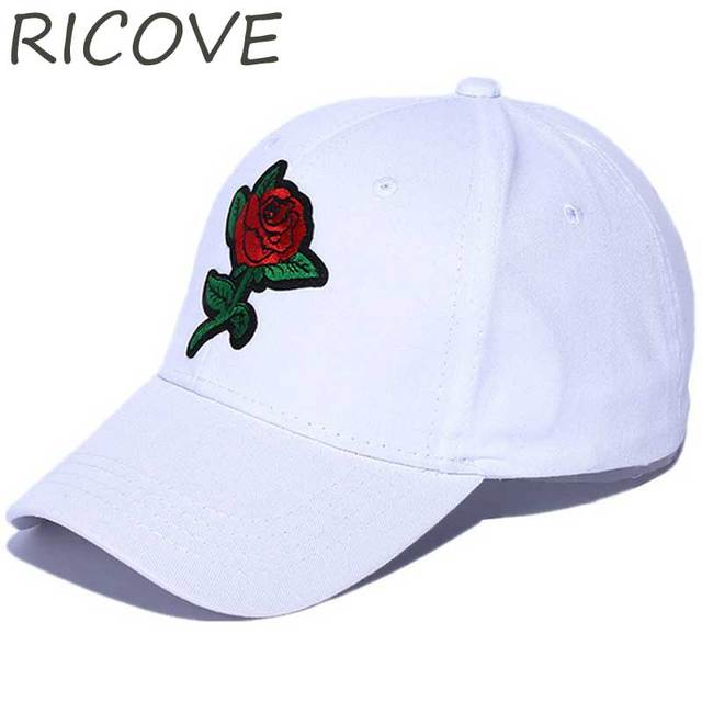 b87ed997238 New Dad Hat Rose Embroidery Hip Hop Snapback Baseball Cap Women Men  Adjustable Caps Casual Summer Trucker Sun Hats Korean Style