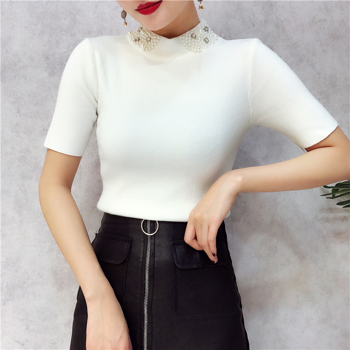 ALPHALMODA 18 Summer Ladies Short-sleeved Pearl Collar Pullovers Casual Slim Knit Sweater Women Studded Fashion Jumpers 17