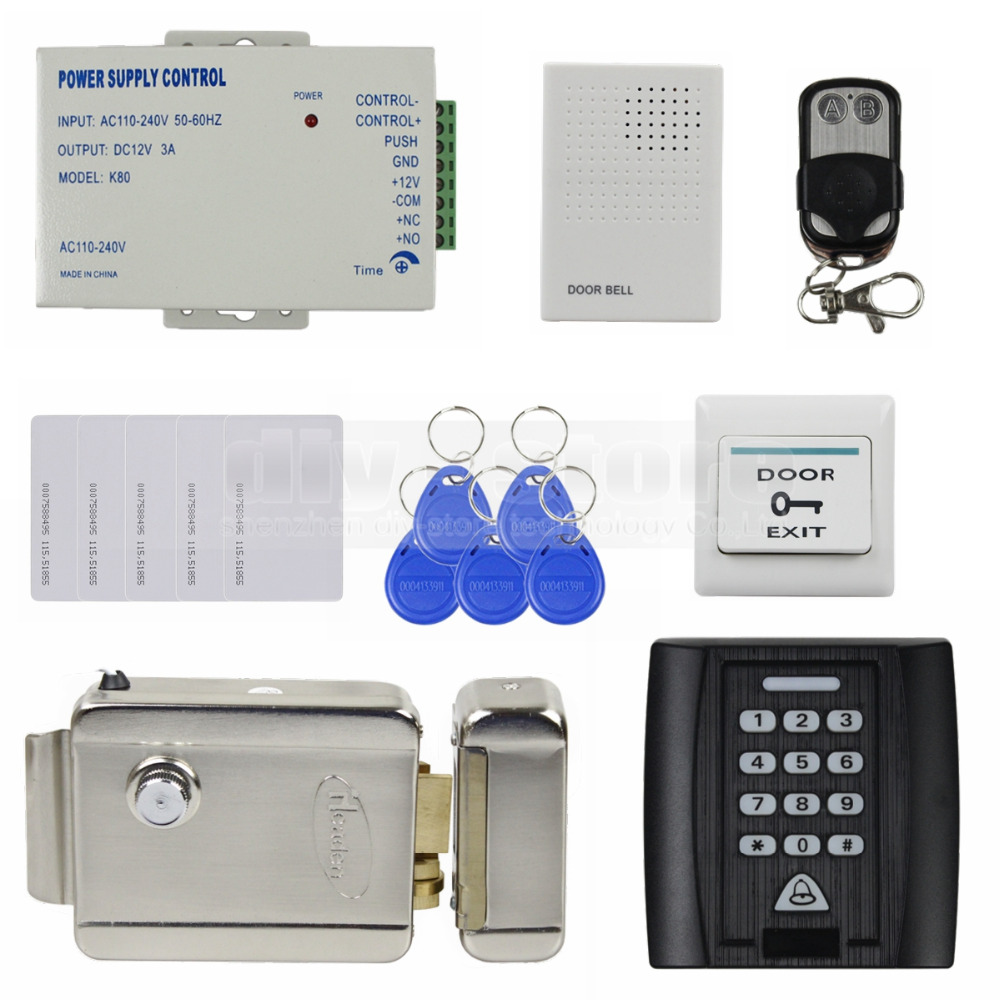 DIYSECUR Remote Control Electric Lock 125KHz RFID Reader Password Keypad Access Control System Security Kit +Exit Button diysecur 280kg magnetic lock 125khz rfid password keypad access control system security kit exit button k2