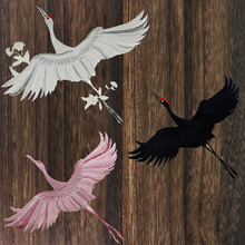 1pieces Chinese Style Patches for Clothing Embroidery Applique Sew on Red-crowned Crane Birds DIY Embroidered Patch for Clothes