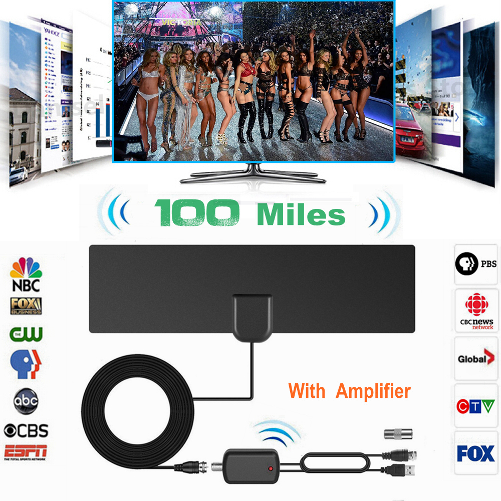 цены на 100 Miles TV Aerial with Signal Amplifier Indoor Antena Digital HDTV Shares Antennas DVB-T2 DVB-T ATSC ISDB-T DTV Antenna for TV