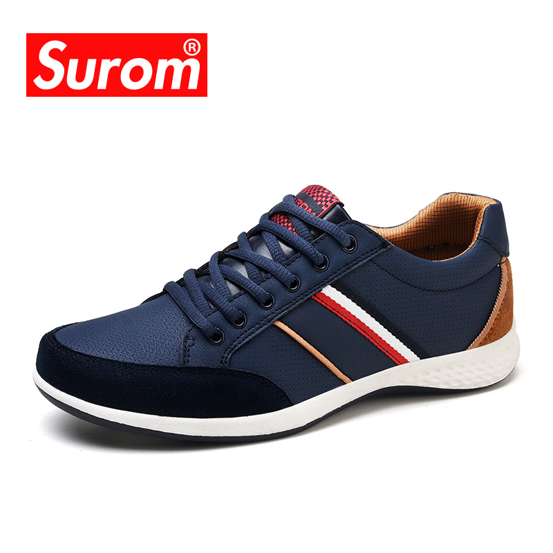 SUROM Men Casual Shoes 2017 Spring Autumn Lace up British Style Breathable Mesh Suede Top Fashion Flat Patchwork Leather Shoes men suede genuine leather boots men vintage ankle boot shoes lace up casual spring autumn mens shoes 2017 new fashion