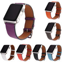 Luxury Litchi Real Genuine Leather Watch Band For Series 2 Single Tour Strap For Apple Watch