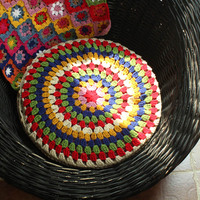 Pastoral Hand Crochet Cushion Meal Cushions Futon Colorful Rainbow Round Rainbow Meditation Cushion meditatie kussen