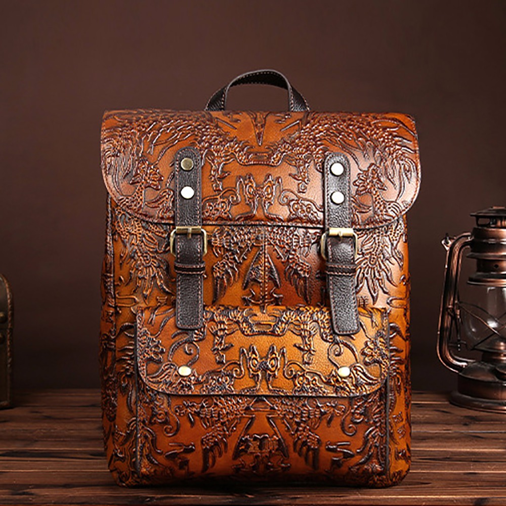 Ozuko High Quality Men Backpack Women Vintage Cowhide Genuine Leather Embossed For Ladies Rucksack Daypack Shool Bags Travel Bag high quality genuine leather women backpacks female embossed flower backpack school bag vintage coffee ladies travel bags l0244