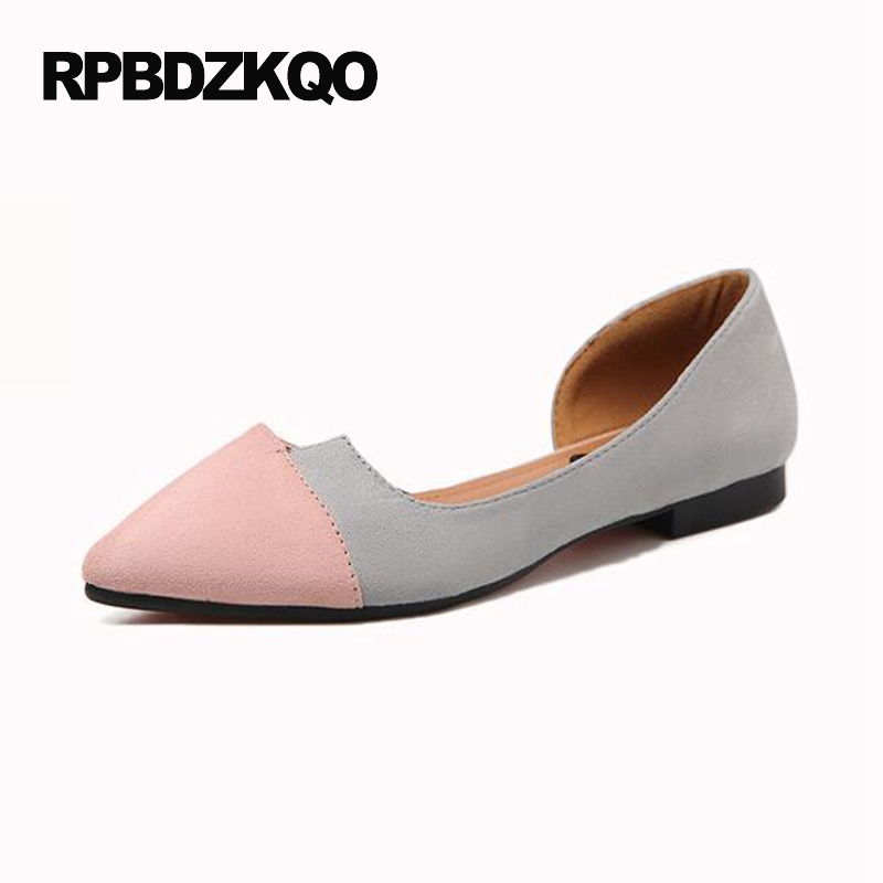 Suede Chinese Black Flats Slip On Ladies Sandals Women Footwear Pink 2017 Comfortable Pointed Toe Cheap Shoes China Rubber Sole 2017 new fashion women summer flats pointed toe pink ladies slip on sandals ballet flats retro shoes leather high quality