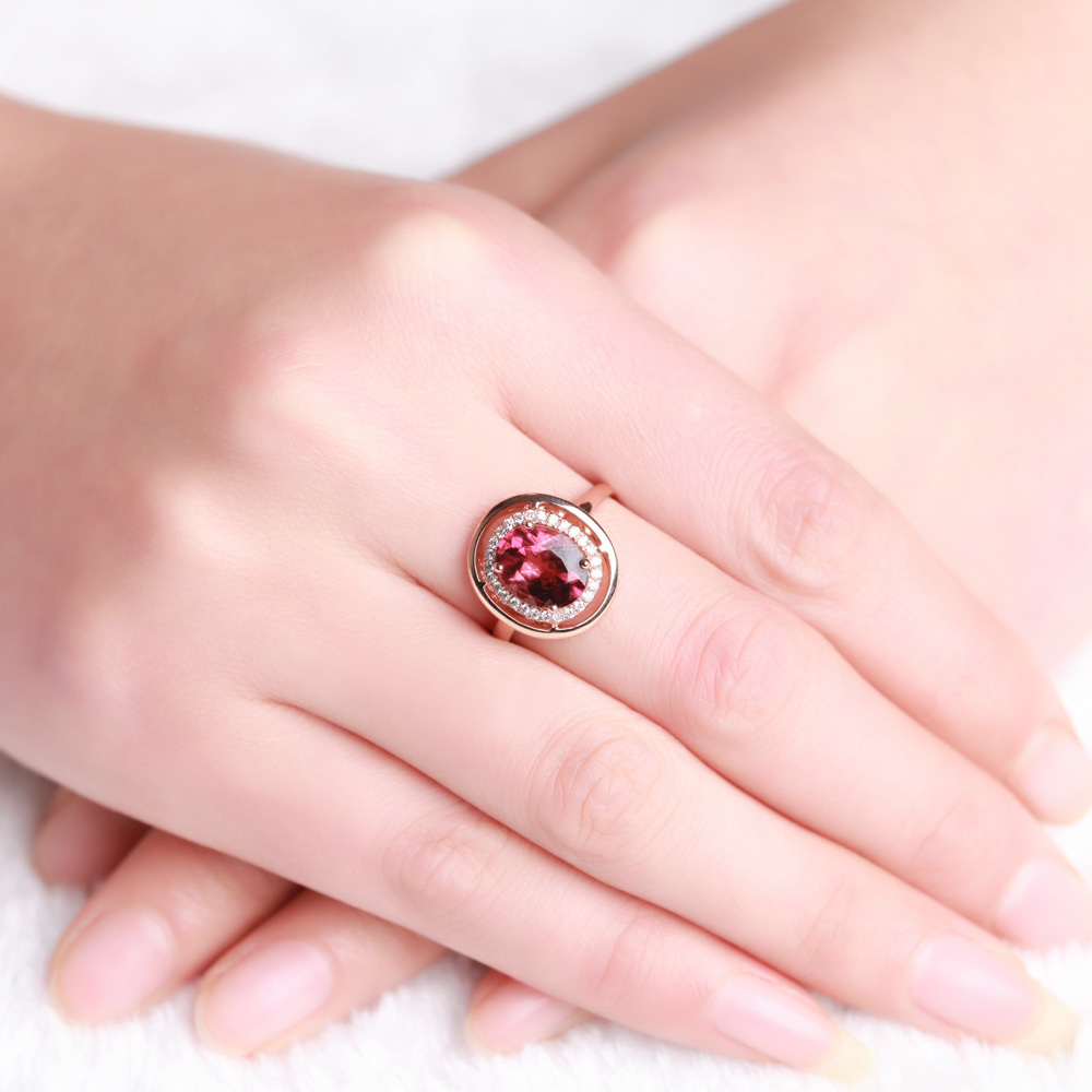 Luxury GVBORI 18K Rose Gold Natural Red Tourmaline Gemstone ring ...