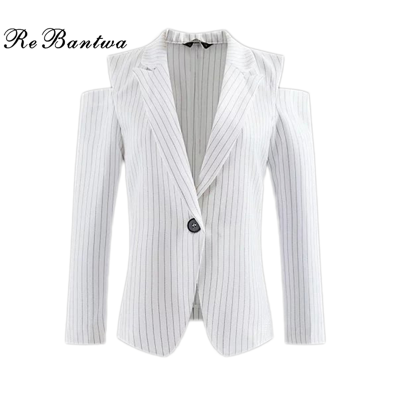 Rebantwa Vertical Striped Blazer Women 2016 Off Shoulder Suit Blazer Feminino Single Button White Women Blazers And Jackets