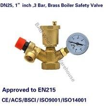 """Grupo de Seguridad para caldera de latón, válvula completa de alivio de presión, válvula de seguridad de ventilación de aire con manómetro, DN25, 1 """", 3 Bar"""
