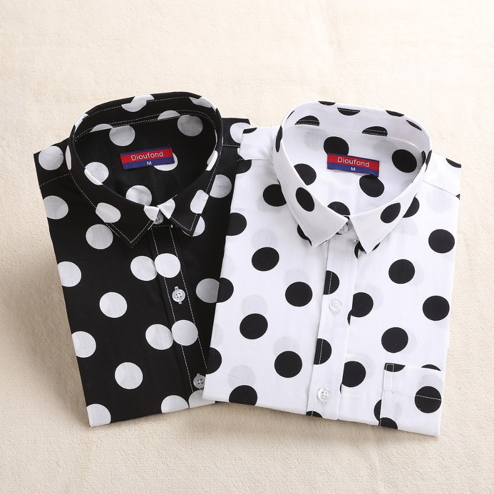 Dioufond Dot Long Sleeve   Blouse   Women Cotton Polka Dot   Blouses   Black White Red   Shirt   Female Fashion   Shirts   Big Size 5XL Clothes
