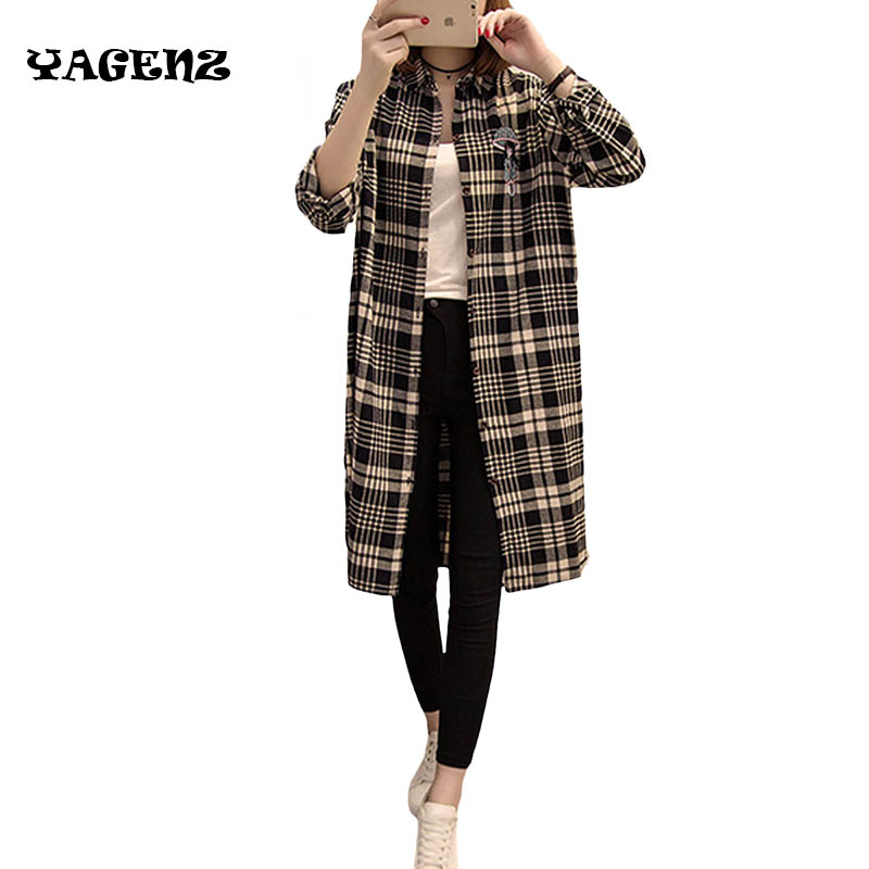 2017 Autumn Fashion Women Long Trench Coat XL-5XL European Elegant Women Long Sleeve Retro Plaid Women Long Trench Coat C51