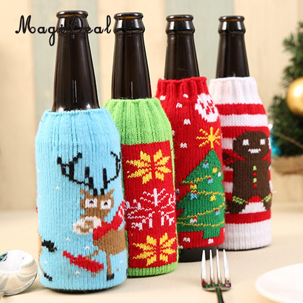 Us 3 09 19 Off Christmas Ornaments Beer Bottle Holder Cola Bottle Wrapping Cover Decoration In Pendant Drop Ornaments From Home Garden On