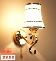 Crystal wall lamp bedroom warm bedside lamp living room aisle staircase pull line switch lighting lamps.