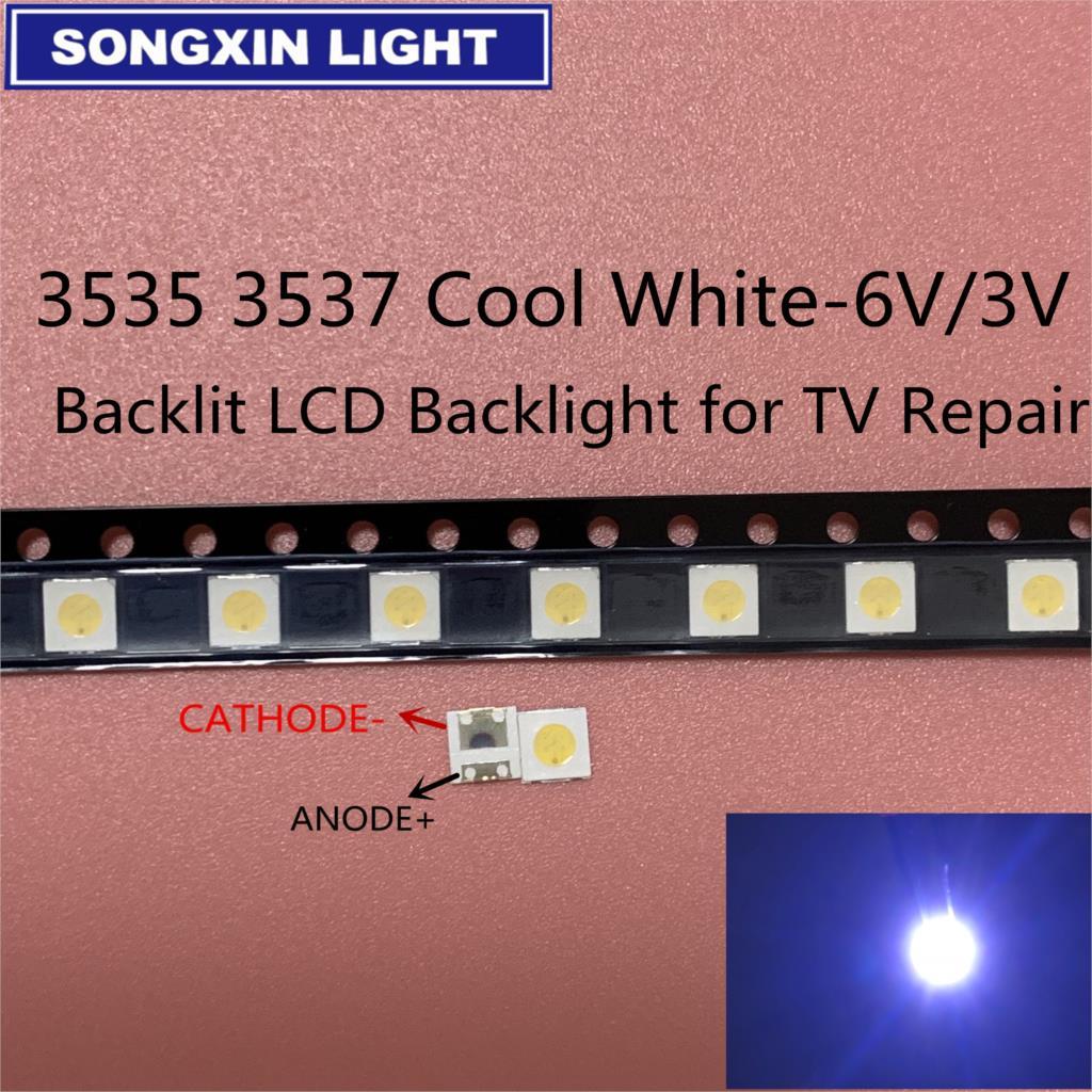 50-100 шт для LG светодиодный 2 Вт 6 В/1 Вт 3 в 3535 холодный белый ЖК-подсветка для телевизора