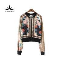 Leiouna Fall Wear European Wind Rose Flower Long Sleeve Cardigan Female Bomber Jackets Loose Coat Woman Hot Sale