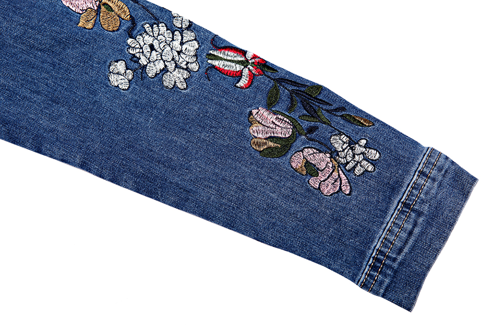 950195ec8ef7f GLO STORY Women s 2018 Spring New Jean Jackets Women Sleeve Floral ...