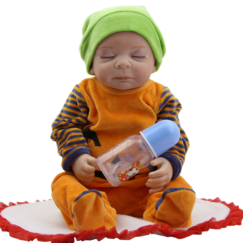 Full Silicone Vinyl Sleeping 20 Inch 50 cm Newborn Babies Realistic Reborn Doll Baby Toy With Romper Kids Birthday Xmas Gift sleeping realistic baby doll reborn 20 inch newborn full silicone vinyl alive babies dolls with leopard dress kids playmate