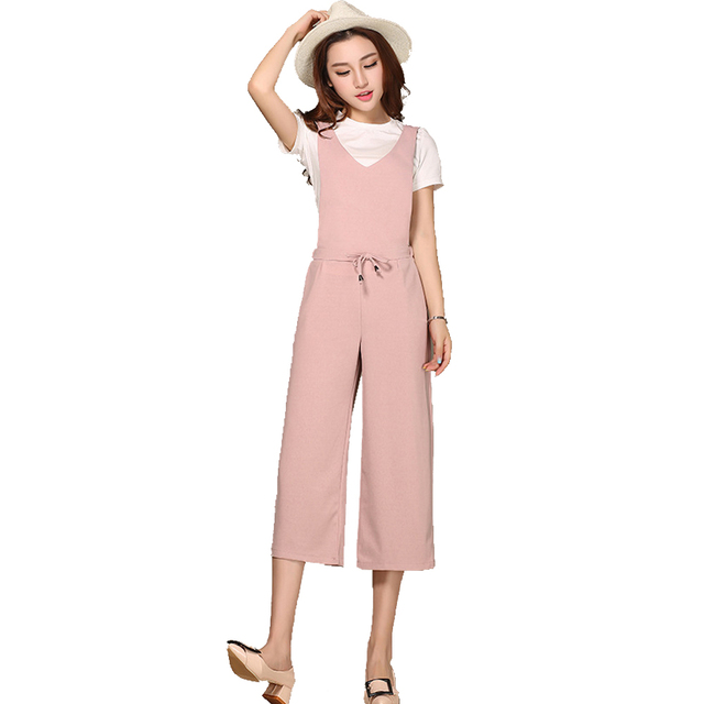 4b6851c2b7 Plus Size 4XL Women Jumpsuit Romper Pink Black Chiffon Dungarees Suspender  Overall Union Playsuit Bodysuit Wide Leg Capris Pants