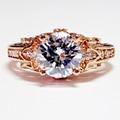EDI Luxuoso 2CT Halo Lab Grown Diamante Corte Redondo Trapézio três Pedra Real Moissanite 14 k 585 Anel de Ouro Rosa Fino jóias