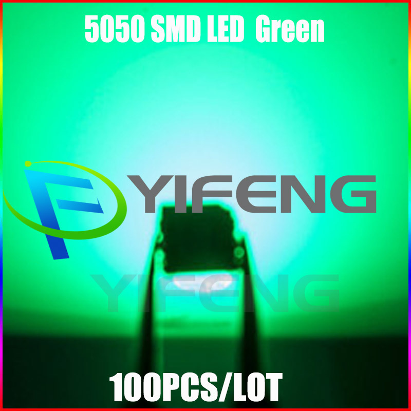 100 шт. 5050 SMD Зеленый PLCC-6 3-ЧИПЫ 9000 <font><b>MCD</b></font> Ultra Bright <font><b>LED</b></font> Высокое качество светоизлучающих диодов 5050 Зеленый <font><b>LED</b></font> 5050 Диоды