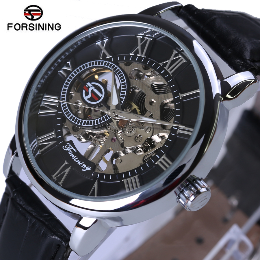 Forsining Mechanical Watch 3D Logo Design Gravura Hollow Negru Argint Cauza Piele Skeleton Mens Ceasuri Top Brand Luxury