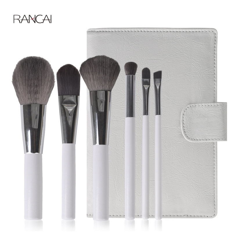 6pcs Makeup Brush Set Bamboo Charcoal Fiber Powder Foundation Brushes Luxury Cosmetic Brush Kits with Leather Bag 10 Sets/Lot free shipping by ems dhl 50 set lot new fiber hairy 32 pcs professional makeup brushes cosmetic set black leather bag