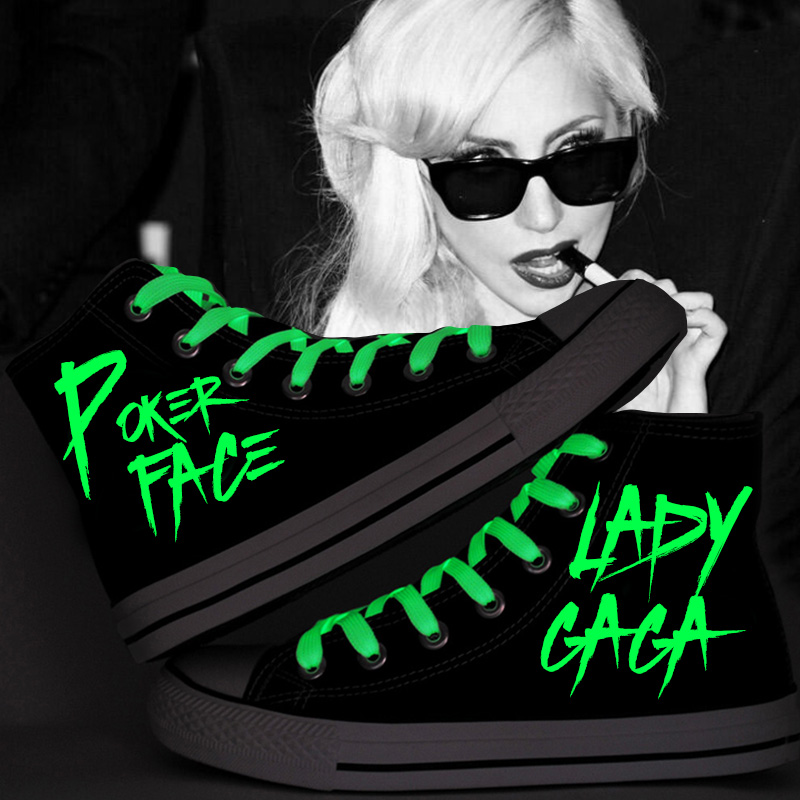 Lady Gaga Graffiti Shoes Fashion Glow in the Dark Women Casual Hand Painted Girls Canvas High Top Black Sneakers